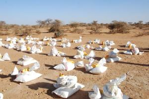 Pre-Distribution Photo of some of the 80,000 Plus Meals before they are distributed to hungry children and families in Somalia.