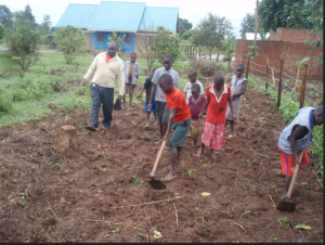 The children at one of the Uganda Orphanages working hard to steward their Garden!