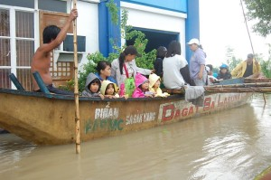 The children are rescued and evacuated from their Orphanage submerged by the floods.