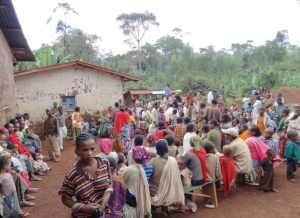 A village gathering for the food distribution.