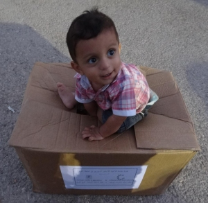 Thank you for helping us deliver food to this little boy's family in Syria!