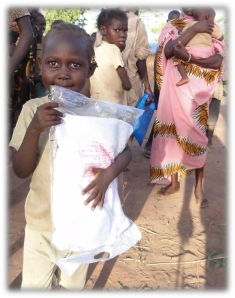 Thanks to good people like YOU our CHRF Donors we can help provide food and life saving mosquito nets to these desperate children in South Sudan!
