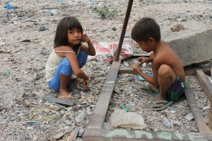 Many children that CHRF works to help have to scavenge through trash in order to survive.