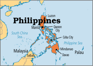 A map of the Philippines, located South East of China, where CHRF has been working to better the lives of children for years .