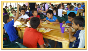 The Children eating at the new feeding program in Honduras.