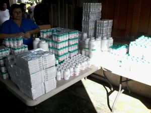 Pictured are some of the medicines that are donated and distributed to desperate local hospitals and clinics.